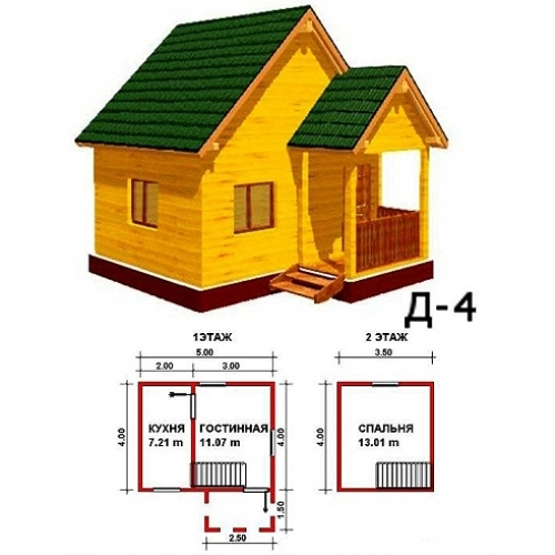 проекты домов из бруса 5х4